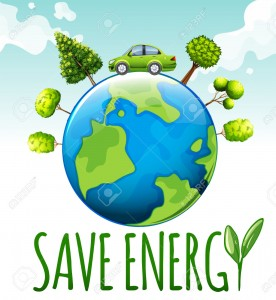 Save energy theme with car and trees illustration